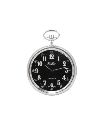 Mechanical Chrome Plated Open Face Pocket Watch With Chain